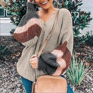 Sweaters - COMING SOON🎉 Bubble Sleeve Striped Cozy Sweater
